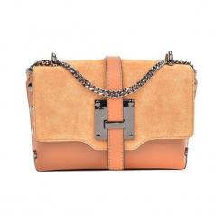 Skórzana torebka w kolorze pomarańczowym - (S)23 x (W)14 x (G)7 cm. Brązowe torby na ramię damskie Akcesoria na sylwestrową noc. W wyprzedaży za 199.95 zł.