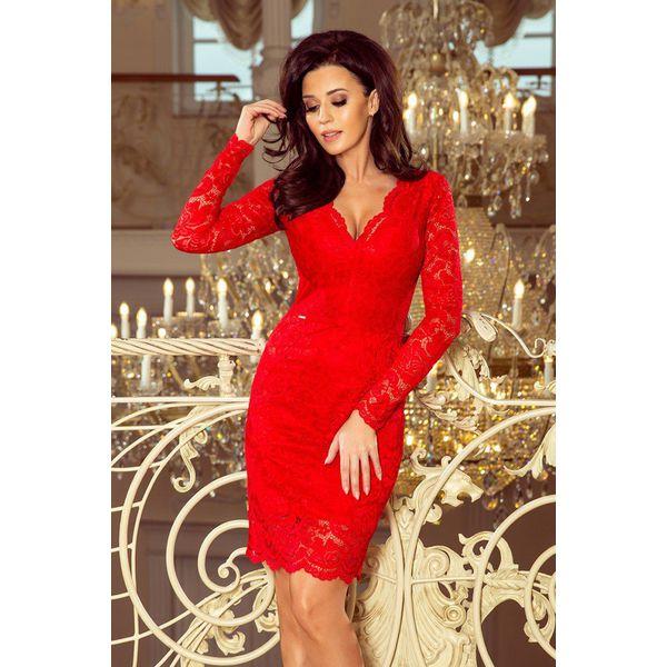 Sukienka Koronkowa Z Długim Rękawkiem I Dekoltem Czerwona