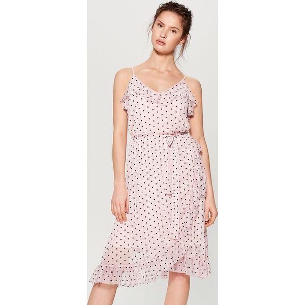 cb8a8a36 Tiulowa sukienka w grochy - Różowy