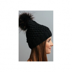 POMPOM - czapka z naturalnym futerkiem. Czarne czapki i kapelusze damskie Pompom, z wełny. Za 169.00 zł.