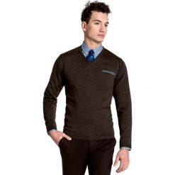 Sweter Dario SWK000023. Brązowe swetry przez głowę męskie Giacomo Conti, z wełny. Za 229.00 zł.