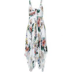 Sukienka z asymetryczną linią dołu bonprix biel wełny w kwiaty. Białe sukienki damskie bonprix, na lato, w kwiaty, z wełny, z asymetrycznym kołnierzem. Za 109.99 zł.