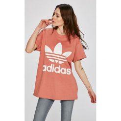 Adidas Originals - Top Big Trefoil Tee. Szare topy damskie adidas Originals, z nadrukiem, z bawełny, z okrągłym kołnierzem, z krótkim rękawem. W wyprzedaży za 129.90 zł.