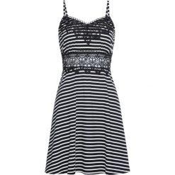 Sukienka z dżerseju, z koronką bonprix czarno-biel wełny w paski. Sukienki damskie marki DOMYOS. Za 37.99 zł.