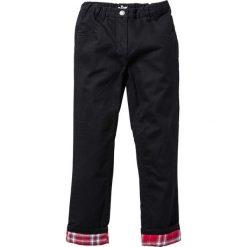 Spodnie z ciepłą flanelową podszewką bonprix czarny. Spodnie materiałowe dla chłopców marki Pulp. Za 89.99 zł.