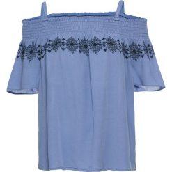Bluzka z haftem bonprix jasnoniebieski. Niebieskie bluzki damskie bonprix, z haftami, z kołnierzem typu carmen. Za 89.99 zł.
