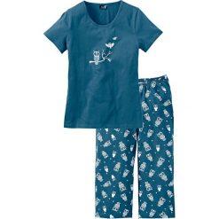 Piżama z krótkim rękawem i spodniami 3/4 bonprix niebieskozielony - biały. Zielone piżamy damskie bonprix, z krótkim rękawem. Za 54.99 zł.