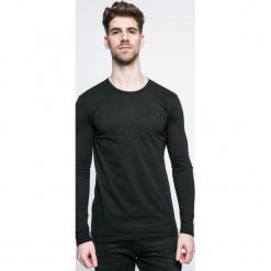 Trussardi Jeans - Longsleeve. Czarne bluzki z długim rękawem męskie TRUSSARDI JEANS, z aplikacjami, z bawełny, z okrągłym kołnierzem. W wyprzedaży za 299.90 zł.