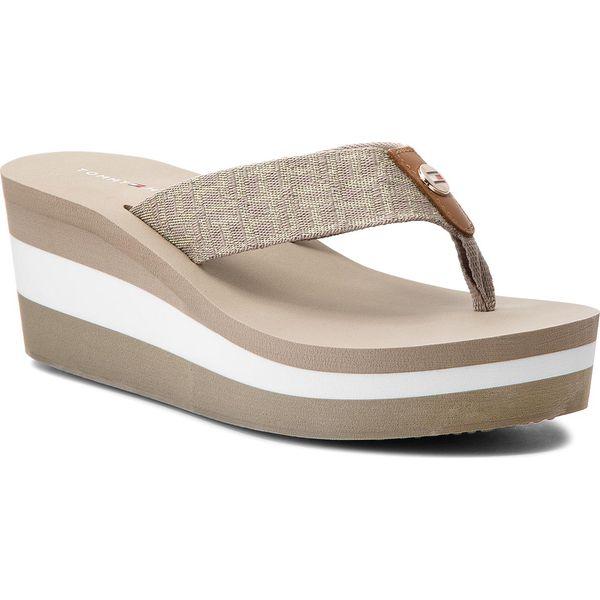 Klapki damskie: Japonki TOMMY HILFIGER - Metallic Mid Beach Sandal FW0FW02363  Cobblestone 068