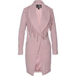 Płaszcz żakietowy z frędzlami bonprix różowobrązowy. Płaszcze damskie marki FOUGANZA. Za 189.99 zł.