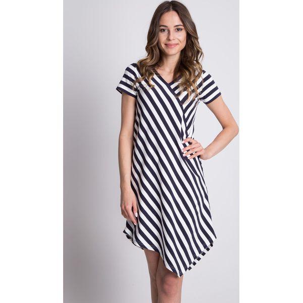 087f4b87b6 Dzianinowa asymetryczna sukienka w paski BIALCON - Sukienki damskie ...
