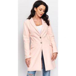 Wiosenny płaszcz flauszowy  r-p002. Czerwone płaszcze damskie Butik, eleganckie. W wyprzedaży za 189.00 zł.