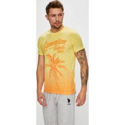 U.S. Polo - T-shirt. Brązowe koszulki polo męskie U.S. Polo, z nadrukiem, z bawełny. W wyprzedaży za 159.90 zł.
