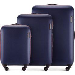 Zestaw walizek 56-3-61S-90. Niebieskie walizki damskie Wittchen, z gumy. Za 694.71 zł.