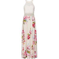 Sukienka letnia z kwiatowym nadrukiem i koronką bonprix beżowo-lila-jasnoróżowy. Sukienki damskie marki DOMYOS. Za 149.99 zł.