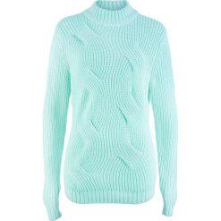 Sweter  w warkocze bonprix pastelowy miętowy. Swetry damskie marki bonprix. Za 69.99 zł.