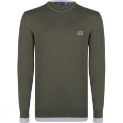 Sweter w kolorze khaki. Brązowe swetry przez głowę męskie Giorgio di Mare, z aplikacjami, z bawełny, z okrągłym kołnierzem. W wyprzedaży za 152.95 zł.