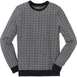Sweter w delikatny wzór Regular Fit bonprix czarno-szary melanż wzorzysty. Czarne swetry przez głowę męskie bonprix, melanż, z dzianiny. Za 89.99 zł.