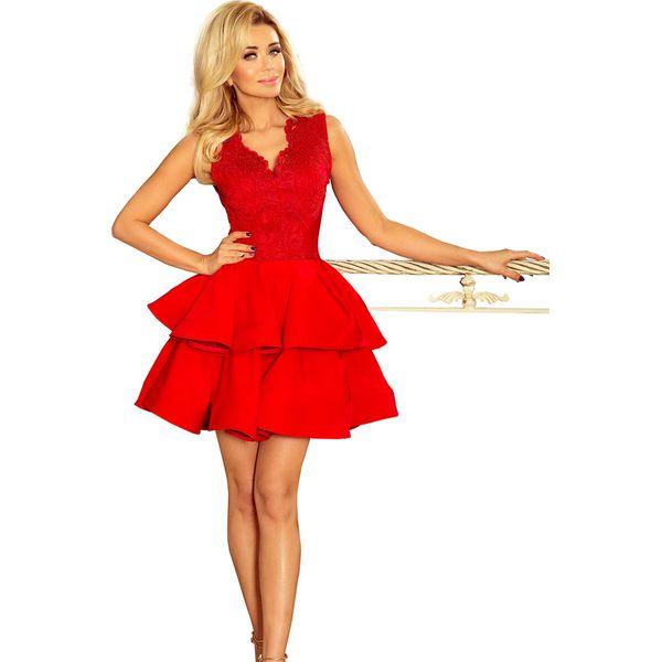 7c0eadd1 Czerwona Rozkloszowana Imprezowa Sukienka z Koronką