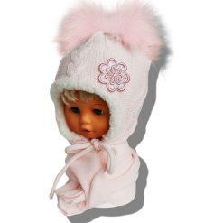 Czapka dziecięca z szalikiem CZ+S 019NB różowo-biała r. 46-48. Czapki dla dzieci marki Reserved. Za 58.14 zł.