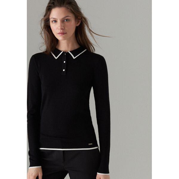 ecf21068 Dopasowany sweter z kołnierzykiem - Czarny