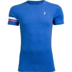 T-shirt męski TSM615 - niebieski melanż - Outhorn. Niebieskie t-shirty męskie Outhorn, na lato, melanż, z bawełny. W wyprzedaży za 24.99 zł.