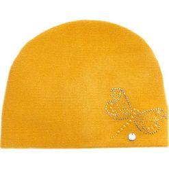 Musztardowa czapka z ważką QUIOSQUE. Niebieskie czapki i kapelusze damskie QUIOSQUE, z dzianiny. W wyprzedaży za 89.99 zł.