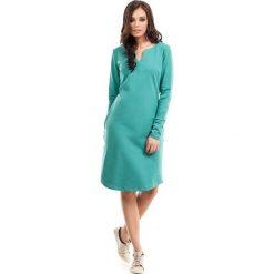 Zielona Sukienka Trapezowa z Długim Rękawem. Zielone sukienki damskie Molly.pl, z bawełny, z długim rękawem. Za 119.90 zł.