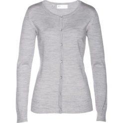 Sweter rozpinany z wełny merino bonprix jasnoszary melanż. Kardigany damskie marki KALENJI. Za 179.99 zł.