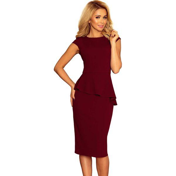 01af2ab576 Bordowa Elegancka Ołówkowa Sukienka Midi z Asymetryczną Baskinką ...