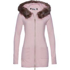 Sweter rozpinany ze sztucznym futerkiem bonprix matowy jasnoróżowy. Czerwone kardigany damskie bonprix. Za 109.99 zł.