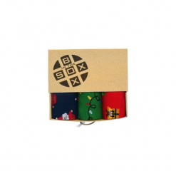 Box Świąteczny (3)- Skarpetki. Brązowe skarpety męskie Sox in the box, z bawełny. Za 80.00 zł.