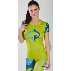 """Ground Game Sportswear Koszulka damska Rashguard """"Flowers"""" krótki rękaw Żółto-niebieska r.  M. T-shirty damskie Ground Game Sportswear. Za 99.00 zł."""