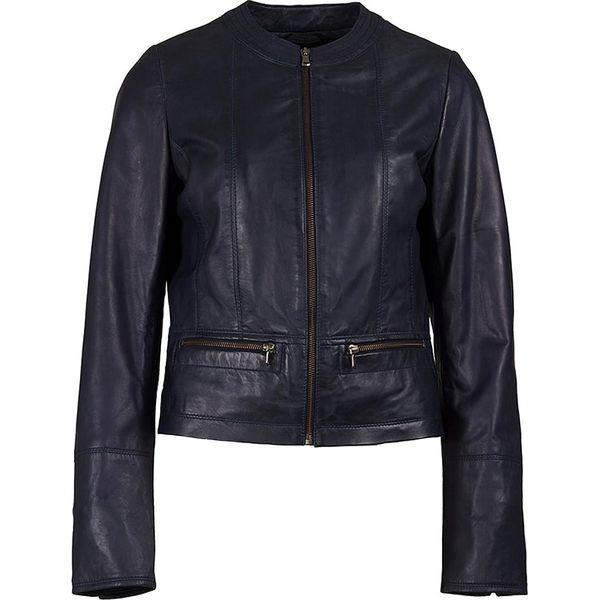 22e9fc1248113 Skórzana kurtka w kolorze granatowym - Niebieskie kurtki damskie ...