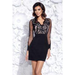 Sukienka dopasowana z koronką 2159. Czarne sukienki damskie Bico, w koronkowe wzory, z koronki, eleganckie, z długim rękawem. Za 199.00 zł.
