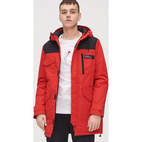 Ciepła kurtka z kapturem Czerwony