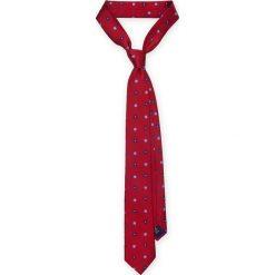 KRAWAT CZERWONY W KWIATKI. Czerwone krawaty i muchy LANCERTO, w kwiaty, z żakardem, eleganckie. Za 139.90 zł.