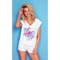 Bluzka t-shirt flaming k162. Białe t-shirty damskie Knitis, z dzianiny, z klasycznym kołnierzykiem. Za 69.00 zł.