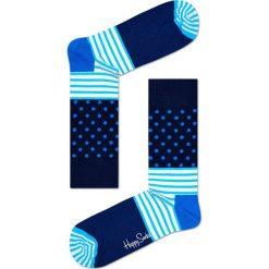 Happy Socks - Skarpety Stripes&Dots. Niebieskie skarpety męskie Happy Socks, z bawełny. W wyprzedaży za 27.90 zł.
