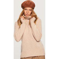 Kaszmirowy sweter - Beżowy. Brązowe swetry damskie Reserved, z kaszmiru. Za 349.99 zł.