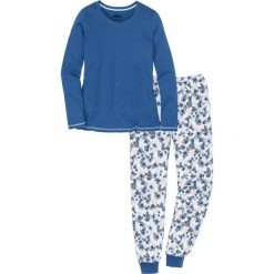 Piżama, bawełna organiczna bonprix indygo-biel wełny z nadrukiem. Niebieskie piżamy damskie bonprix, z nadrukiem, z bawełny. Za 79.99 zł.