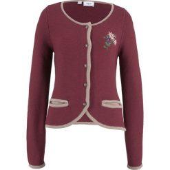 Sweter rozpinany w ludowym stylu, z haftem, długi rękaw bonprix czerwony klonowy - kamienisty. Kardigany damskie marki bonprix. Za 74.99 zł.