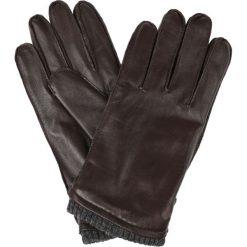 Rękawiczki Brązowe. Brązowe rękawiczki męskie LANCERTO, w paski, ze skóry. W wyprzedaży za 139.90 zł.