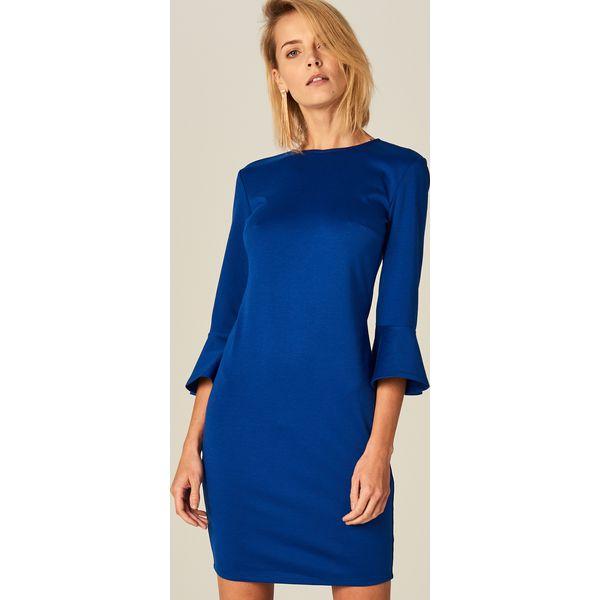 242e934359 Ołówkowa sukienka z rozkloszowanym rękawem - Niebieski - Sukienki ...