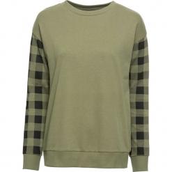Bluza dresowa bonprix oliwkowo-czarny w kratę. Bluzy damskie marki KALENJI. Za 79.99 zł.