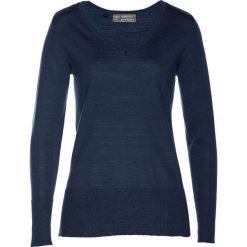 Sweter Premium z wełny merino bonprix ciemnoniebieski. Swetry damskie marki bonprix. Za 179.99 zł.