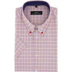 Koszula SERGIO slim 16-01-02-K. Czerwone koszule męskie Giacomo Conti, na lato, w kratkę, z materiału, button down, z krótkim rękawem. Za 199.00 zł.