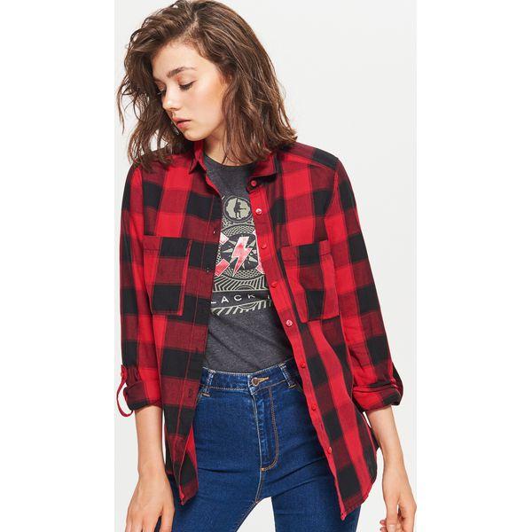 178c465041ea38 Koszula w kratę - Czerwony - Czerwone koszule damskie Cropp. W ...
