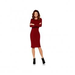 Kobieca ołówkowa sweterkowa sukienka LS224. Czerwone sukienki damskie Lemoniade, na jesień, ze splotem, klasyczne, z klasycznym kołnierzykiem, z długim rękawem. Za 169.90 zł.