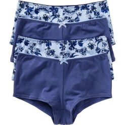 """Figi """"french"""" (4 pary) bonprix niebieski z nadrukiem. Niebieskie figi damskie bonprix, z nadrukiem, z bawełny. Za 55.96 zł."""